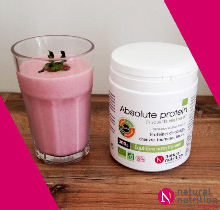 Smoothie protéiné à la fraise et protéines végétales Absolute Protein